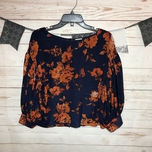 Odille Navy Night Phlox Floral Silk Blouse Top 4